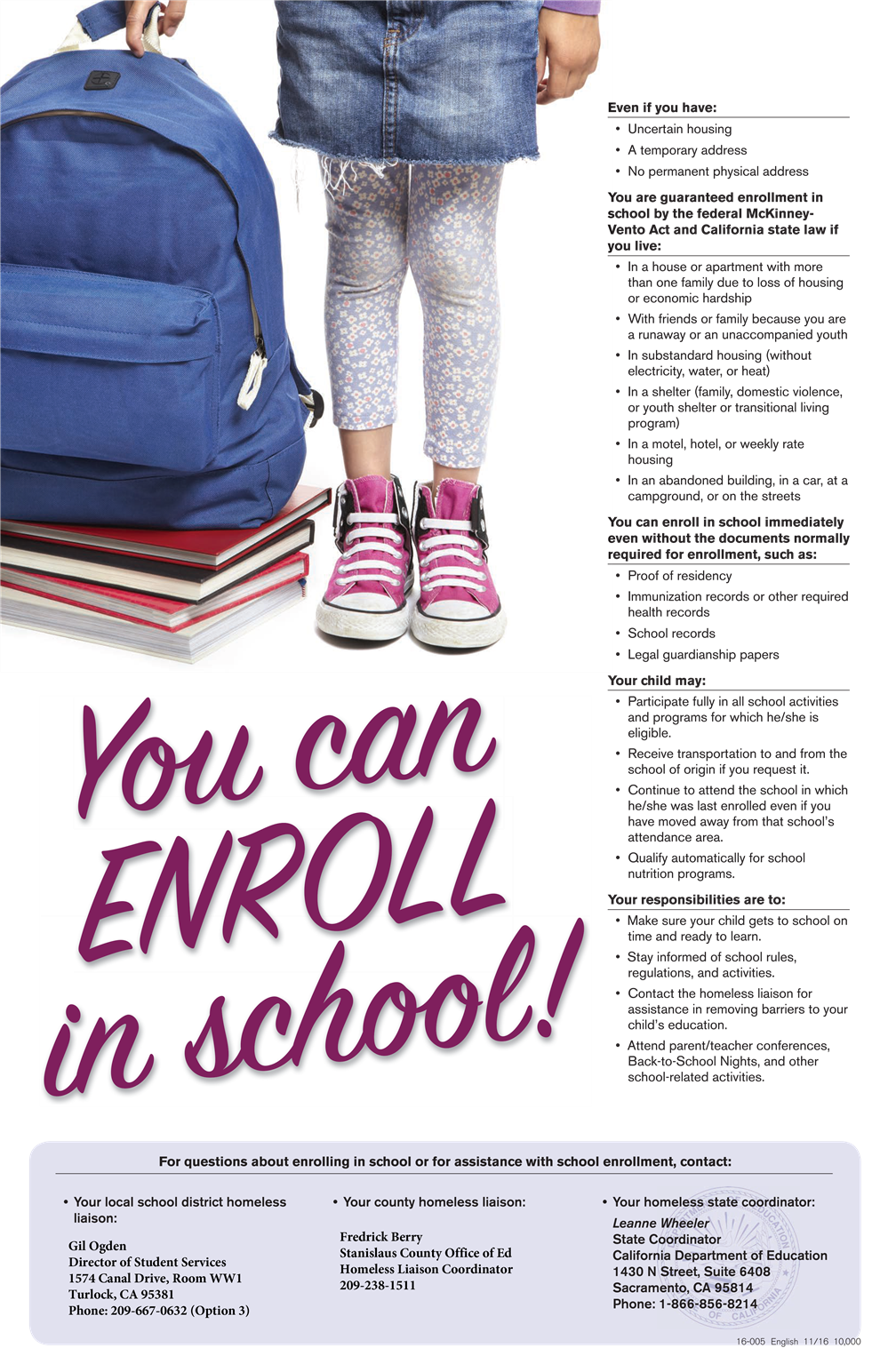 You Can Enroll in School!